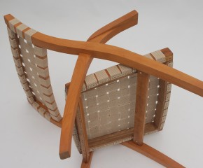 Beech easy chair with beige straps