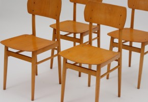 Set of wooden dining chairs