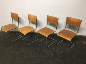 Set of 12 tubular steel chairs Mart Stam